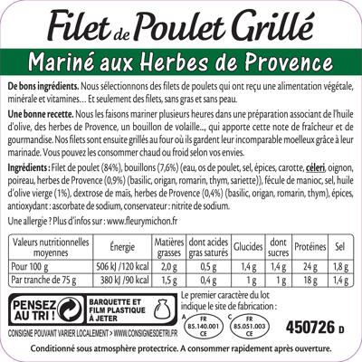 Filet de poulet grille, mariné herbes de provence (Fleury michon)