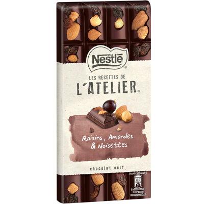 Nestle l'atelier chocolat noir raisins, amandes et noisettes 195g (Les recettes de l'atelier)