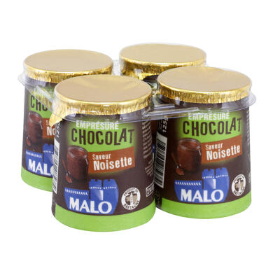 Lait pasteurisé emprésuré sucré au chocolat et aromatisé (Malo)