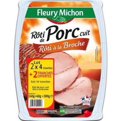 Lot 2(4 tr. rôti de porc rôti à la broche + 1 tr. offerte) + boîte (Fleury michon)