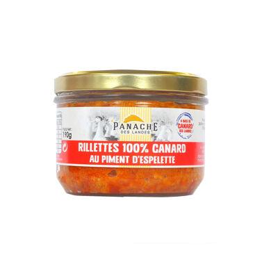 Rillettes 100% canard au piment d'espelette to 190g (Panache des landes)