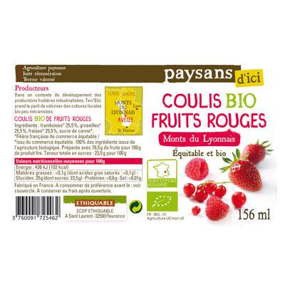 Coulis de fruits rouges des monts lyonnais bio 156ml (Paysans d'ici)