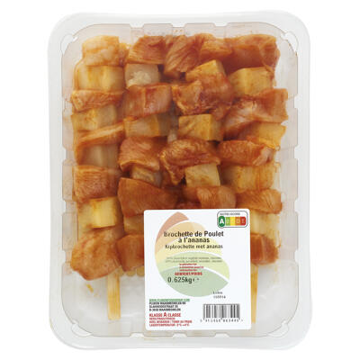 Brochettes de filet de poulet mariné avec ananas 625g e (Nobrand)