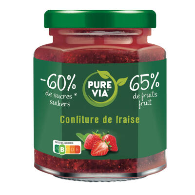 Confiture de fraise 65% de fruits et -40% de sucre (Pure via)