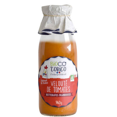 Velouté de tomates, betteraves et framboises (Bioco corico)
