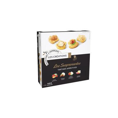 16 mini briochés cru [pâte briochée lardons emmental (25%), pâte briochée oignons chèvre (25%), pâte briochée légumes abricot orientale (25%), pâte briochée tomate courgette mozzarella (25%)] (Les créations)