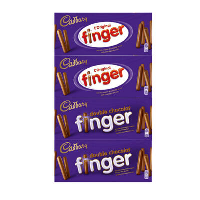 Lot finger lait 2x138g + finger dble choc 2x114g (Cadbury)