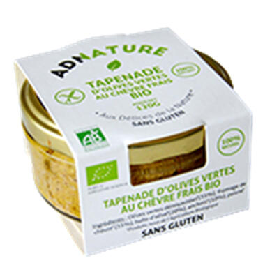 Tapenade d'olives au chèvre frais bio et sans gluten 120g (Adnature)