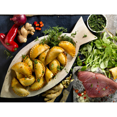 Les empanadas au thon coriandre, curry (Maison briau)