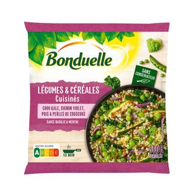 Légumes et céréales cuisinés, chou kale, oignons violets, pois garden et perles de couscous (Bonduelle)