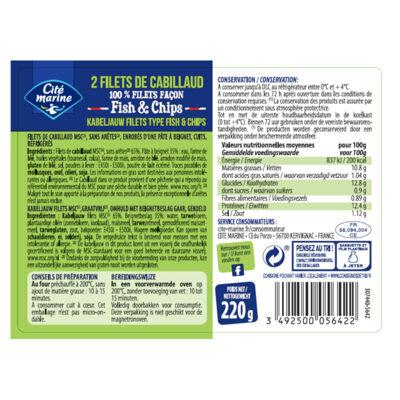 Filets de cabillaud façon fish & chips - 220g - frais / kabeljauw filets type fish & chips - 220g - kosten (Cité marine)