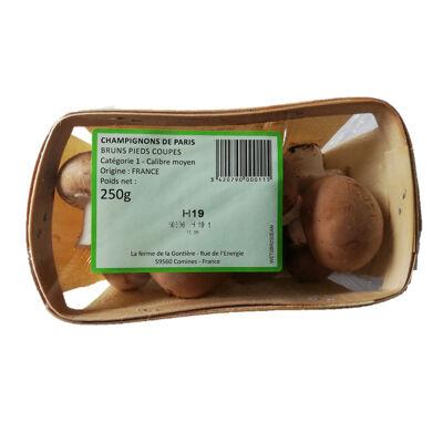 Champignons de paris bruns pieds coupés - 250g (Ferme de la gontière)