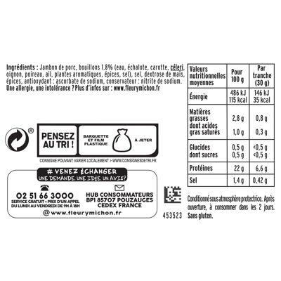 Lot 2(4 tr. fines jambon le torchon cuit à l'etouffee s.c., - 25 % de sel + 1 tr. offerte) + boîte (Fleury michon)