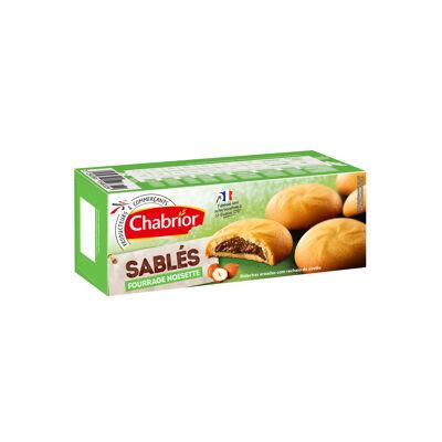 9 biscuits sablés fourrage au chocolat et aux noisettes, aromatisés (Chabrior)