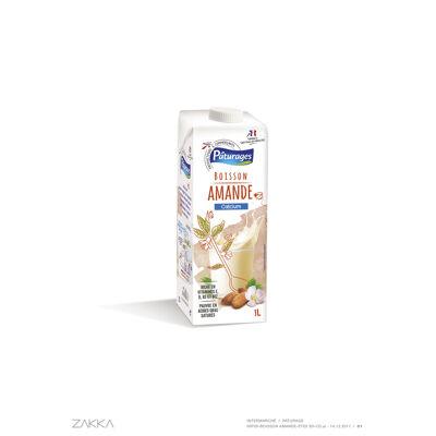Boisson à base d'amande, enrichie en calcium et en vitamines b2, b12, d et e, stérilisée uht (Paturages)