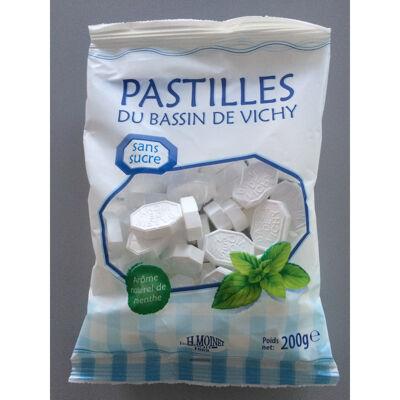 Sachet 200g, pastilles du bassin de vichy sans sucre avec édulcorant saveur menthe (Moinet vichy sante)