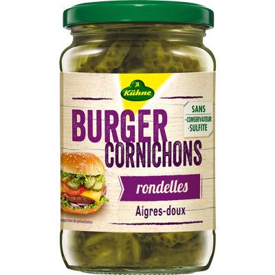 Kühne cornichons spécial burger en rondelles aigres-doux, bocal 185g (Kühne)