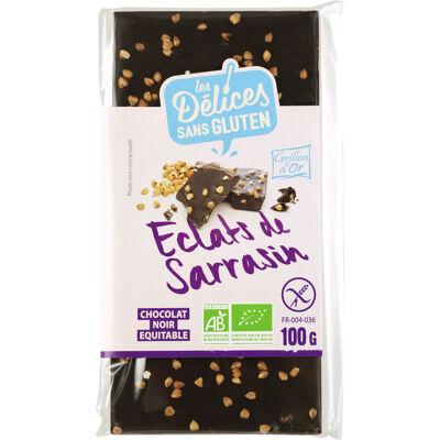 Tablette chocolat noir éclats de sarrasin 100g ldsg ab* (Grillon d'or)