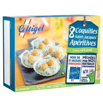 8 coquilles st-jacques apéritives crème ail et persil x 18g (Celtigel)