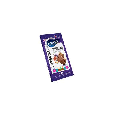 Chocolat supérieur au lait, aux éclats d'amandes caramélisés (15%), à la figue (12%), aromatisé goût miel (Ivoria)