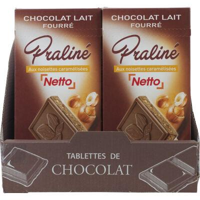 Tablette fourrée chocolat au lait praliné - 150g (Netto)
