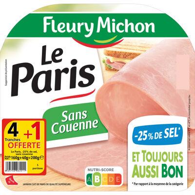 4 tr. le jambon de paris cuit s.c., - 25 % de sel + 1 tr. offerte (Fleury michon)