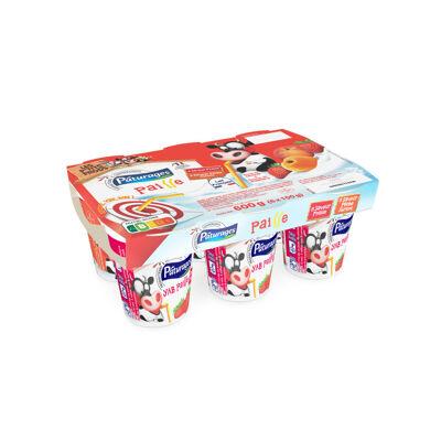 Yaourt à boire sucré saveur fraise pêche abricot (Paturages)