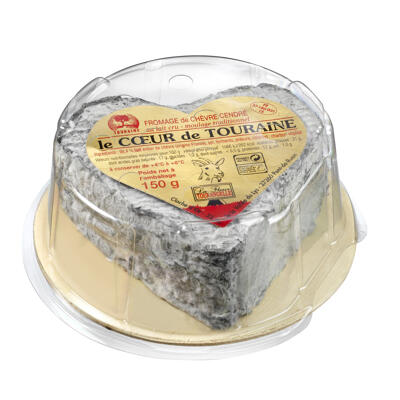 Coeur de touraine cendré mini cave 150 g (Cloche d'or)