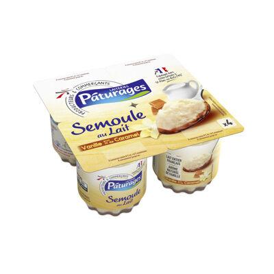 Semoule au lait à la vanille sur lit de caramel (Paturages)