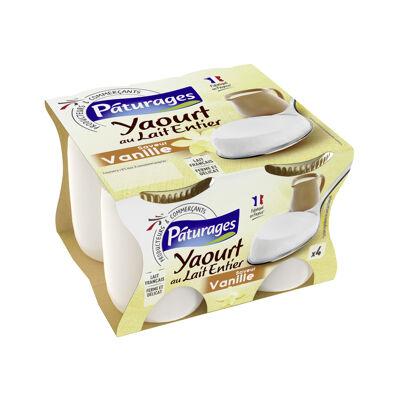 Yaourt au lait entier, sucré, avec arôme naturel de vanille (Paturages)