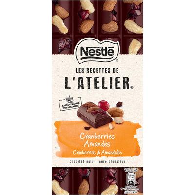 Nestle l'atelier chocolat noir, cranberries, amandes 170g (Les recettes de l'atelier)