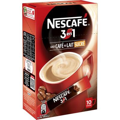 Nescafe 3en1, boisson au café, boîte de 10 sticks (18g chacun) (Nescafé)