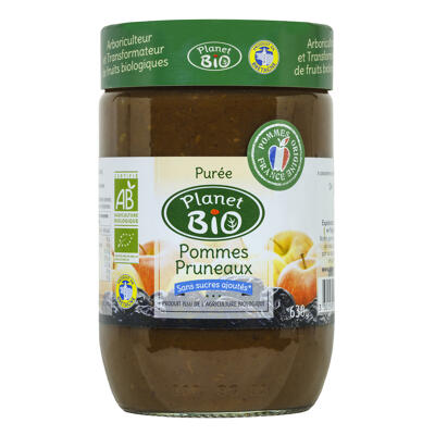 Purée de pommes pruneaux bio sans sucres ajoutés 630g (Planet bio)