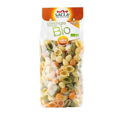 Pâtes sacla semoule de blé dur - conchiglie tricolore bio 500gr - pates sacla - blé 100% italie (Sacla)