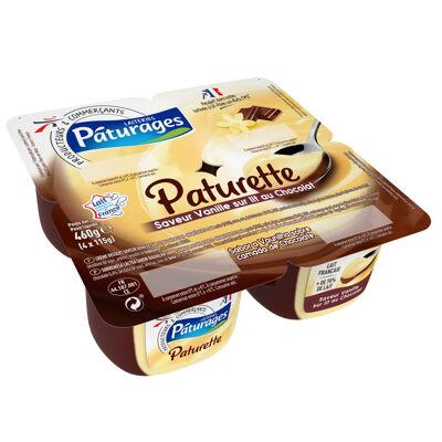 Crème dessert saveur vanille sur lit au chocolat (Paturages)