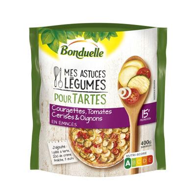 Mes astuces légumes pour tartes : courgettes, tomates cerises et oignons (Bonduelle)