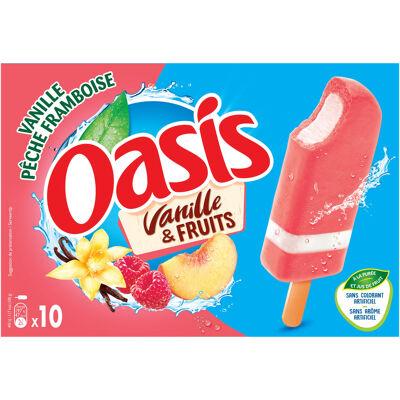 Bâtonnet oasis vanille pêche-framboise 10x40g (Oasis)