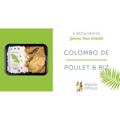 Poulet colombo et riz cuisine 300 gr (Saveurs creoles)