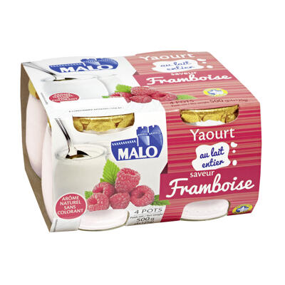 Yaourt au lait entier pasteurisé sucré aromatisé à la framboise (Malo)