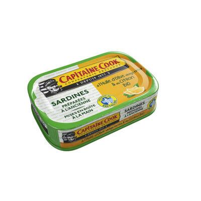 Sardines à l'huile d'olive et citron bio 115g (Capitaine cook)