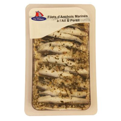 Barquette filets d'anchois marinés à l'ail 125g (Est friture)