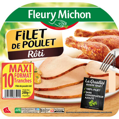 10 tr. epaisses filet de poulet supérieur rôti (Fleury michon)