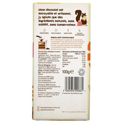 Tablette de chocolat blanc biologique et beurre de cacahuetes (Gnaw france la chocolaterie de gnaw)