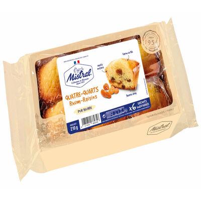 Barquette quatre-quarts pur beurre rhum raisin 210g x6 (Biscuits mistral)