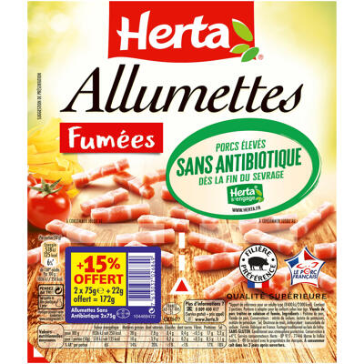 Herta allumettes fumées sans antibiotique 2x75g +15% ofr (Herta)