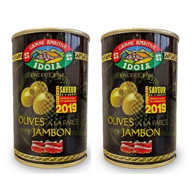 Olives a la farce de jambon bte 120 g lot x 2 (Idoia)