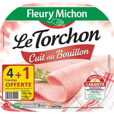 4 tr. jambon le torchon cuit au bouillon s.c. + 1 tr. offerte (Fleury michon)