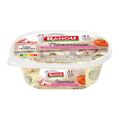 Salade piémontaise aux tomates fraîches, jambon cuit supérieur, cornichons et œufs (Monique ranou)