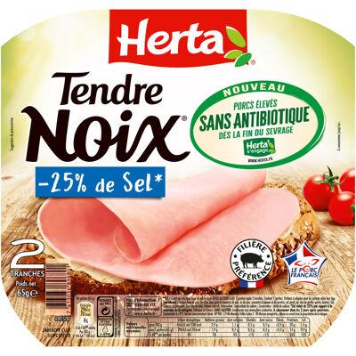 Herta tendre noix jambon -25% sel sans antibiotique x2 -65g (Herta)