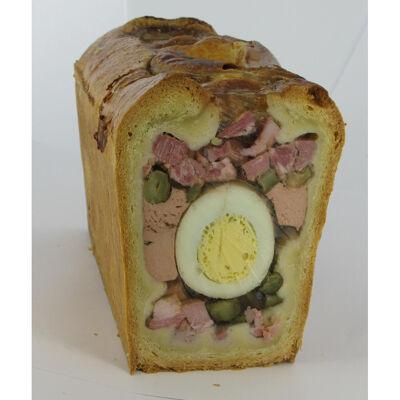 Paté croute de paques, medaillon d'oeuf et cornichons (Michel bolard)
